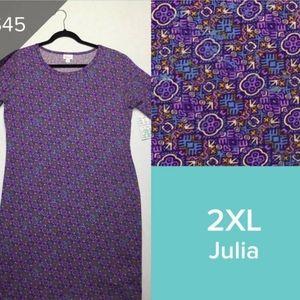 LulaRoe LLR Julia fitted dress purple sz 2xL